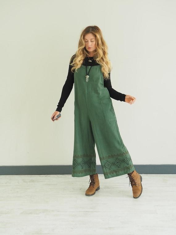 FOREST GREEN OVERALLS - Wide leg Jumpsuit - Ruby Sparrow Dungarees - Organic Cotton - linen - Block Print - Summer winter - Aztec Print