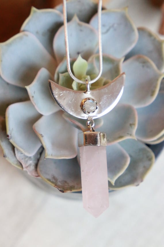 LABRADORITE & ROSE QUARTZ - Sterling Silver Moon Necklace - Crystal Gift - Healing Crystal - Statement - Gemstone Reiki Necklace - Moonstone
