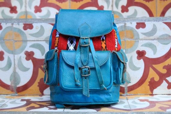 GREEN VINTAGE RUCKSACK - Small Leather Bag - 70's rucksack - Bohemian - Moroccan - Vintage Carpet - Fabric Bag - Student Backpack - Travel