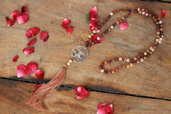 PRAYER BEAD NECKLACE - 90 Bead - Tree of life - Crystal necklace - Mala - Mandala - Yoga necklace - Tassel - Spiritual - Mindful - Mookaite