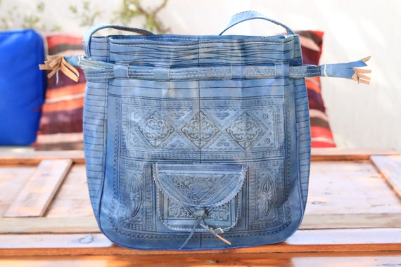 BLUE LEATHER HANDBAG - Shoulder bag - Hand tooled Satchel - Bespoke - Floral Bag - Vintage Leather Purse - 70's 60's Folk - Boho Handbag