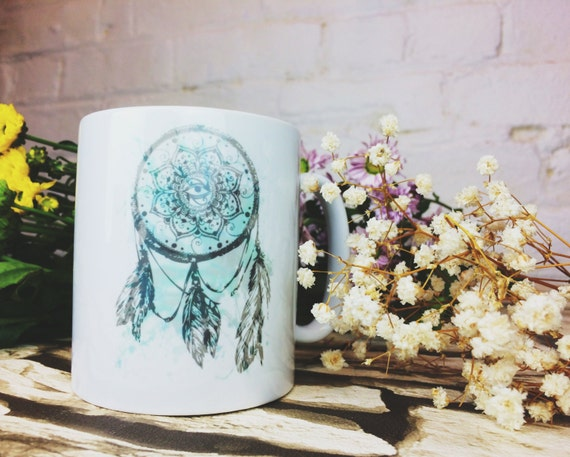 DREAMCATCHER MUG- Coffee Mug- Tea Cup- Dreamcatcher- Dreams- Design- Screen Print- Handmade- Spiritual- Chakras- Tea- Coffee- Printed Mug