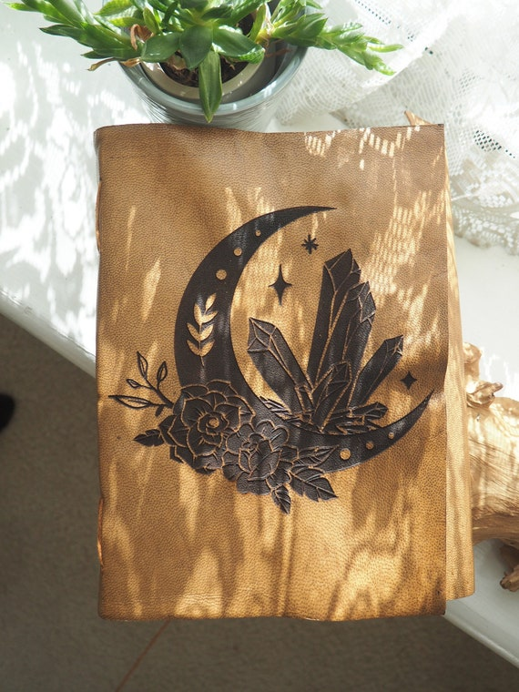 MOON CRYSTAL JOURNAL - Vintage Leather Notebook - Sketch - Artist - Photo Book - Witchcraft - Hocus Pocus - Halloween - Moon Book - Crystal