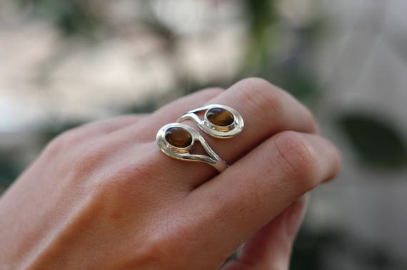 ADJUSTABLE TIGERSEYE RING - 925 Sterling Silver Ring - Tiger eye - Healing Crystal - Gemstone ring - Gift - Vintage Ring - Birthstone