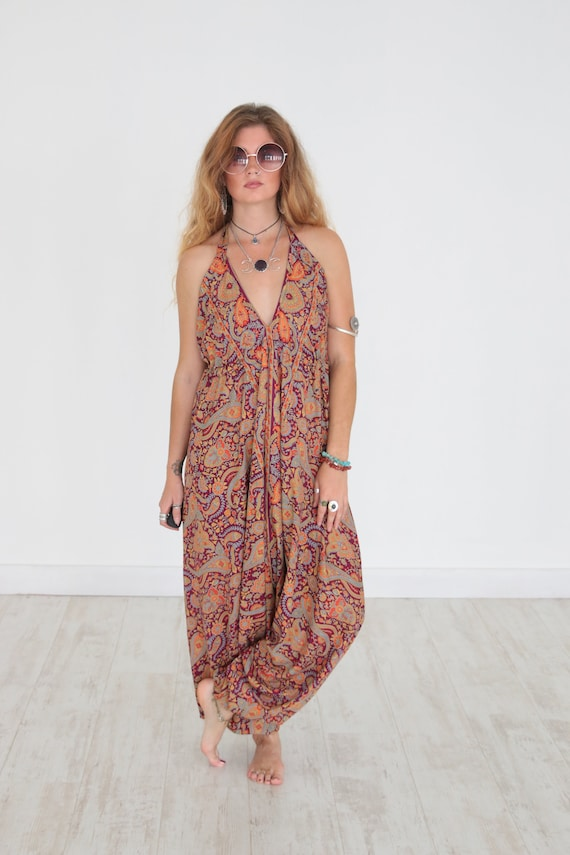 VIOLET PAISLEY JUMPSUIT - Ruby Sparrow -  Vintage all in one - Backless - Harem - Beach - Up cycle - Summer - Boho - Festival Fashion Gypsy