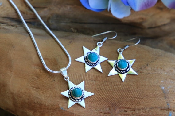 TURQUOISE STAR NECKLACE - Oxidised Silver Turquoise Necklace - Crystal Jewellery - Chakra & Reiki Gift - BIrthstone necklace - Moon - Star