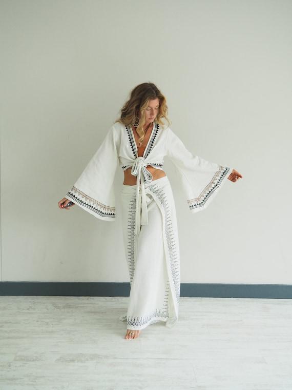 WHITE GODDESS SET - Cotton Bell sleeve & Trouser set - Co-ord set - Thai Fisherman pants - Wrap top - Free size matching set - Yoga ceremony