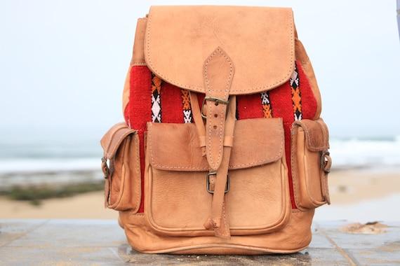 XL VINTAGE RUCKSACK - Large Leather Rucksack - 60's / 70's Backpack - Aztec  - Vintage Moroccan Fabric - Student School bag - Travel bag