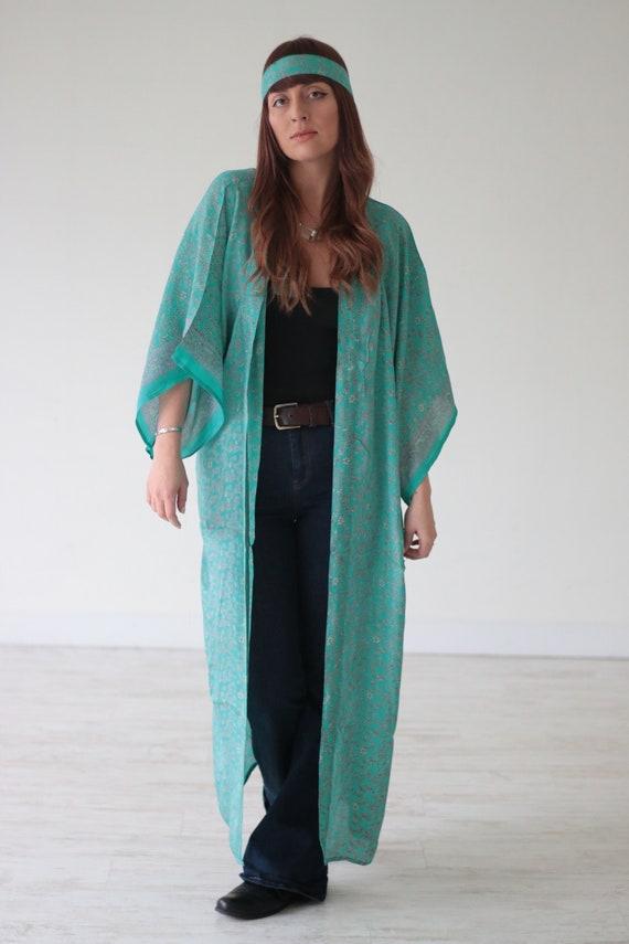 TURQUOISE DREAM KIMONO - Maxi Jacket - All season Cover Up - Kaftan - Vintage - Gunne Sax Inspired - Folk - 70's 60's - Recycled Silk - Boho
