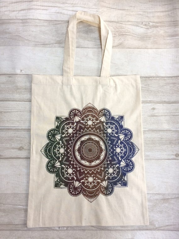 MANDALA TOTE BAG -Yoga bag -Mandala- Hippie bag- Screen print- Cotton Bag- Hand Printed- Bag for Life- Upcycled Bag- Recycle- Handmade