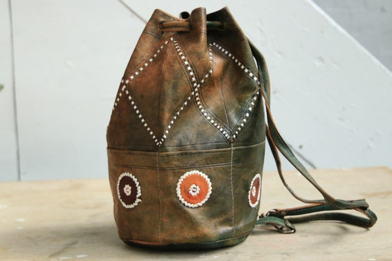 TIEDYE NAVAJO BAG - Mottled Leather - Green Leather Vintage Shoulder bag - Aztec Bucket Bag - Satchel - Bespoke Handbag - Moroccan Bag