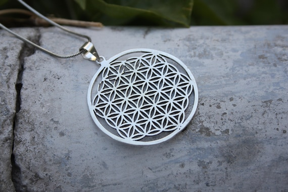 MANDALA NECKLACE -Ethnic jewelry- Tribal jewelry- Sacred Geometry- Bohemian- Flower of life- Meditation- Yoga- Crystal Grid- Festival