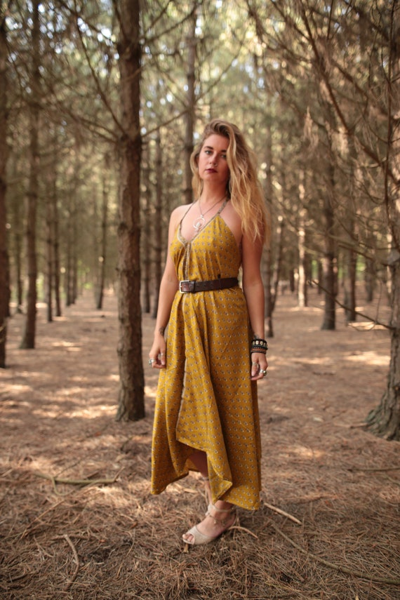 SUNSHINE SUMMER DRESS - Vacation - Vintage dress - Indian - Upcycle - Eco Fashion - Beach - Hippie - Sale - Maxi dress- Holiday - Gift