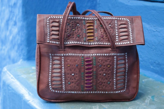 LEATHER TOOLED PURSE - Luxury Vintage Handbag -  Hand tooling - Leather bag - Carry case - Laptop - Vintage - Folk - 60's - 70's - Bespoke