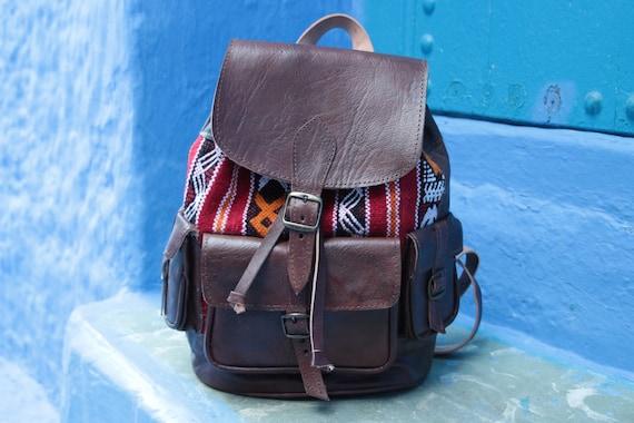 XL LEATHER BACKPACK - Large Vintage Rucksack - 60's / 70's Tribal Bag - Vintage Carpet - Student bag - Travel bag - Carpet Bag - Retro