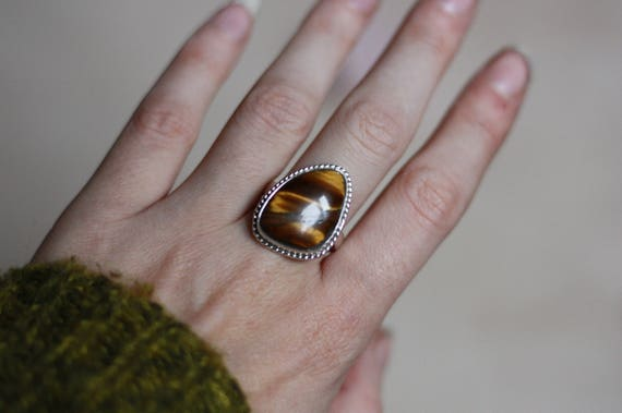 ADJUSTABLE TIGEREYE RING - Tigers Eye Ring - Sterling Silver - Healing Crystal - Bohemian - Statement Ring - One Size fits all - Gift - Gem