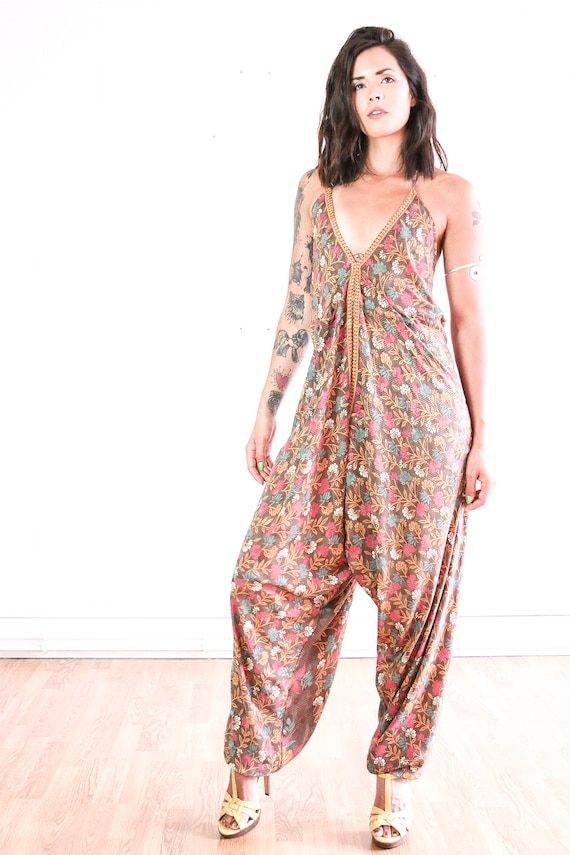 FLORAL PINK JUMPSUIT - Statement - Handmade - Vintage Sari fabric - Festival - Hippie - Halter neck - Couture - Wedding outfit - Christening