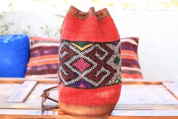 MOROCCAN CARPET  BAG - Medium - Hippie - Festival Bag - Vintage Aztec Shoulder bag - Leather Navajo Bag - Upcycle - 60's 70's - Rucksack