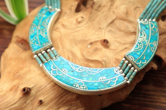 STATEMENT TURQUOISE NECKLACE -  Vintage Nepali Necklace - Tibetan nepalese jewellery - Silver Inlay - One of a kind - Chunky Tribal Choker