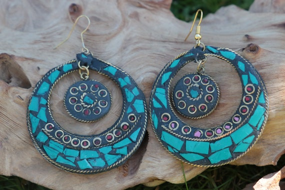 TURQUOISE CHIP EARRINGS - Vintage - Handmade - Bespoke - Tribal - Mosaic - Gypsy - One of a Kind - Statement - Festival - Indian - Tibetan