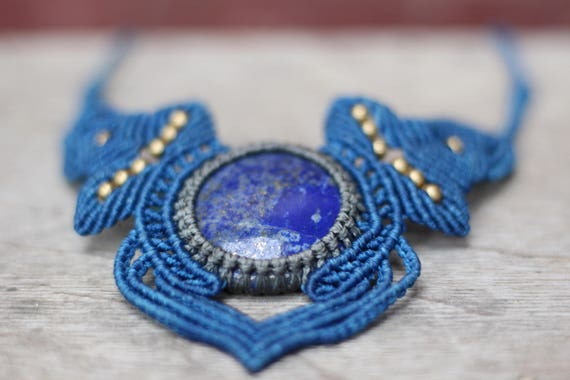 LAPIS LAZULI NECKLACE - Statement Macrame Necklace - Limited Edition - Macrame Choker - Crystal Necklace - Handmade - Healing Crystal - Gift