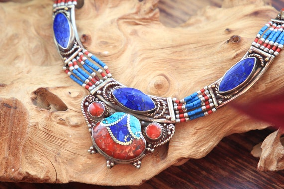 LAPIZ LAZULI & CORAL - Vintage Nepalese Statement Necklace - Buddhist - Tibetan Jewellery - Semi Precious - Bespoke Unique Gift - Turquoise