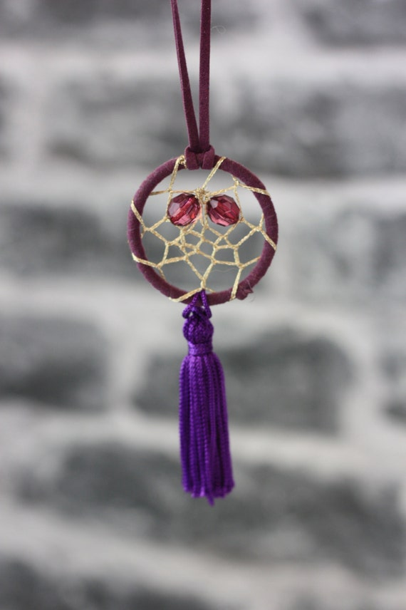 PURPLE DREAMCATCHER NECKLACE -Statement Necklace- Dreamcatcher- Bohemian- Boho chic- Festival necklace- Bespoke Jewelry- Festival- Vintage