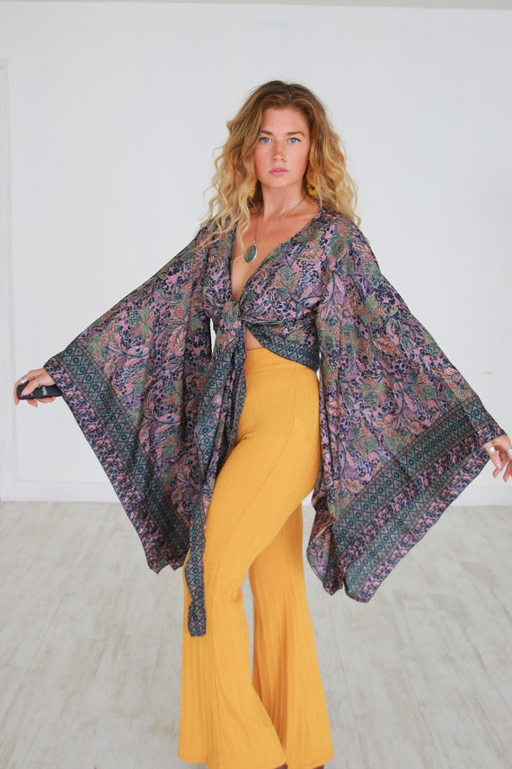 BELLA KIMONO - XL Bell sleeve - Batwing - Japanese Kaftan - Vintage Indian Silk - 60's Kimono - 70's Bohemian Wrap Around - Gypsy Crop Top