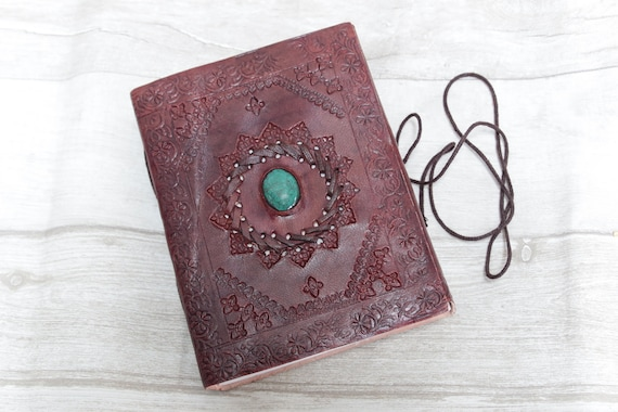 SMALL CRYSTAL JOURNAL - Leather Diary - Crystal Notebook - Scrapbook - Spell book - Sketchbook - Yoga Journal - Travel Journal - Student