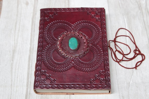 MEDIUM CRYSTAL JOURNAL -  Leather Notebook - Diary - Crystal Journal - Scrapbook - Handmade Diary - Travel - Spell Book - Photo album - D&D