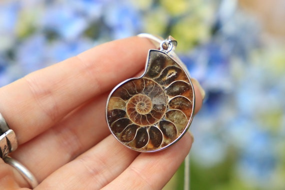 SMALL AMMONITE NECKLACE -  Silver plated - Fossil - Crystal Necklace - Archaeology - Sacred Geometry - Shell - Handmade