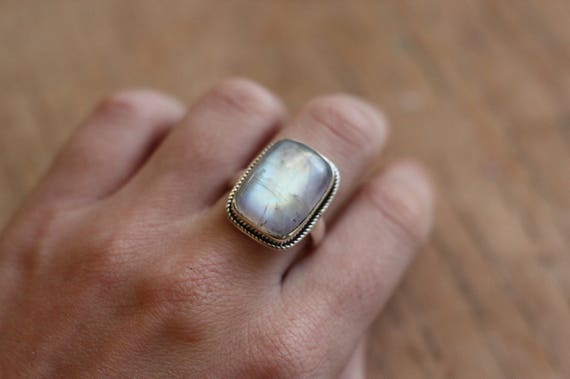 SQUARE MOONSTONE RING - One size - Sterling silver ring - Moon - Glitter - Statement Ring - Rare- Crystal - Gemstone - Semi Precious - Gift