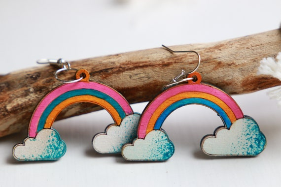 WOODEN RAINBOW EARRINGS - Summer - Pride Rainbow - Hand painted Reclaimed wood earrings - Laser cut - Eco Gift - Lgbtq - Gay pride - Weather