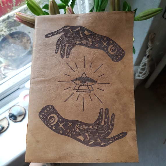 LEATHER SPELL BOOK - Vintage Leather Notebook - Sketch Book - Photo Album - Palmistry - Book of shadows - Witchcraft - Hand Design - Tattoo