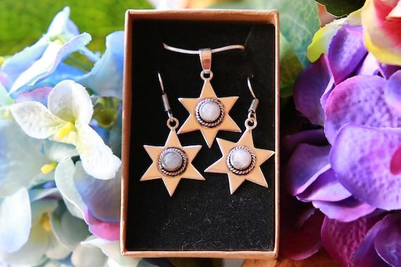 MOONSTONE NECKLACE SET - Earring & necklace set - Moonstone Healing Crystal - Chakra - astrology jewellery - Cosmic - Space Jewellery Gift