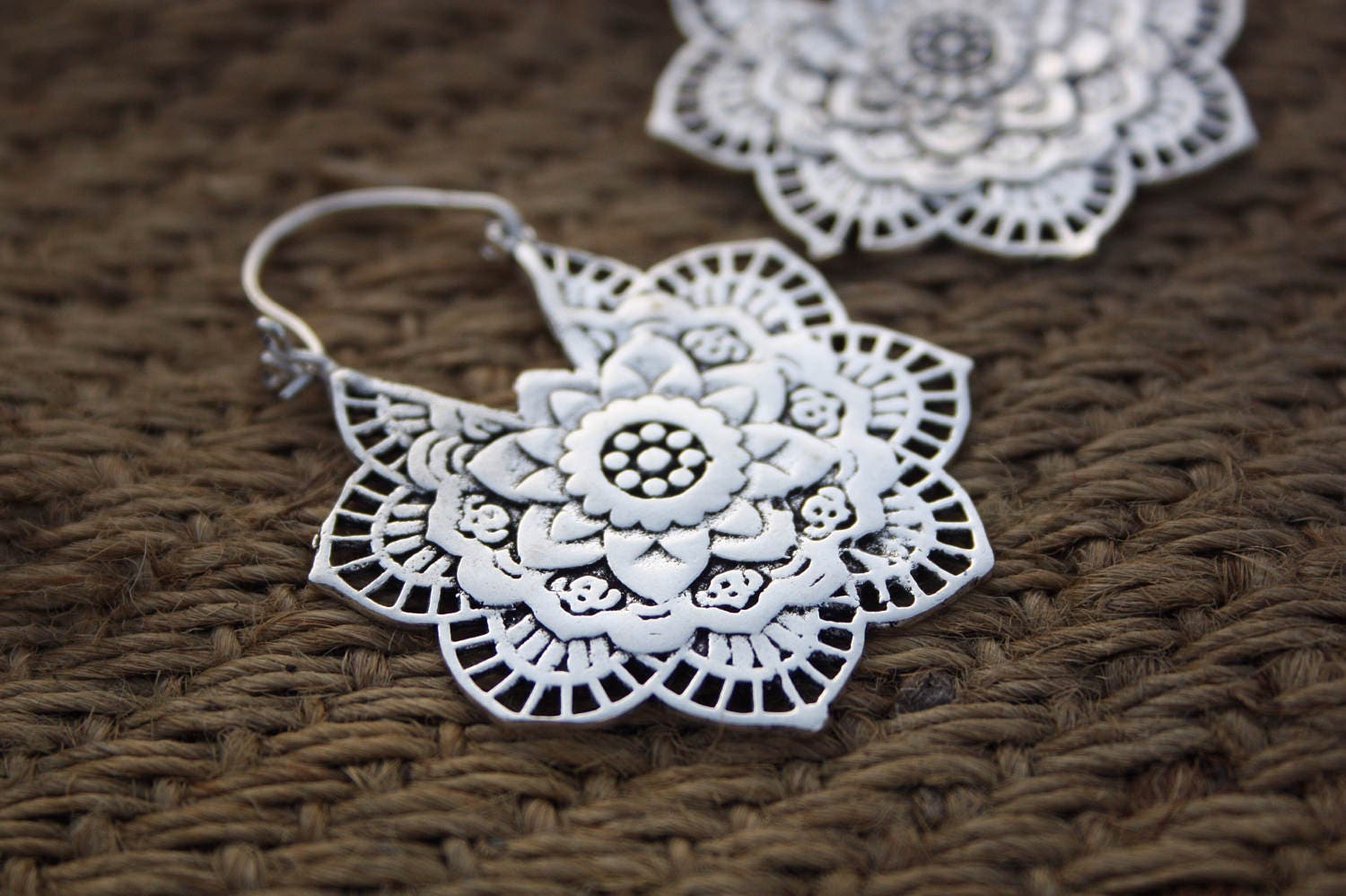 Lotus flower earrings indian earrings ethnic jewelry tribal lotus flower earrings indian earrings ethnic jewelry tribal jewelry antique bronze sacred geometry lotus flower of life izmirmasajfo