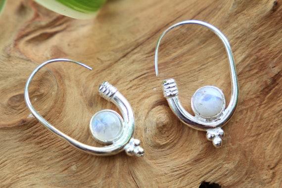 MOONSTONE HOOK EARRING - Silver Plated Earrings - Moonstone - Healing Crystal Jewellery - Boho - Vintage - Festival - Gift - Stocking Filler