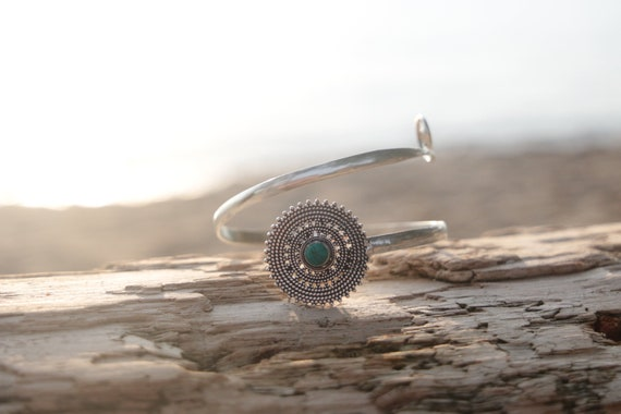 TURQUOISE ARM CUFF - Festival Arm Cuff - Tribal - Upper Arm Cuff - Silver Cuff - Healing Crystal Jewellery - Arm Band - Festival - Gemstone