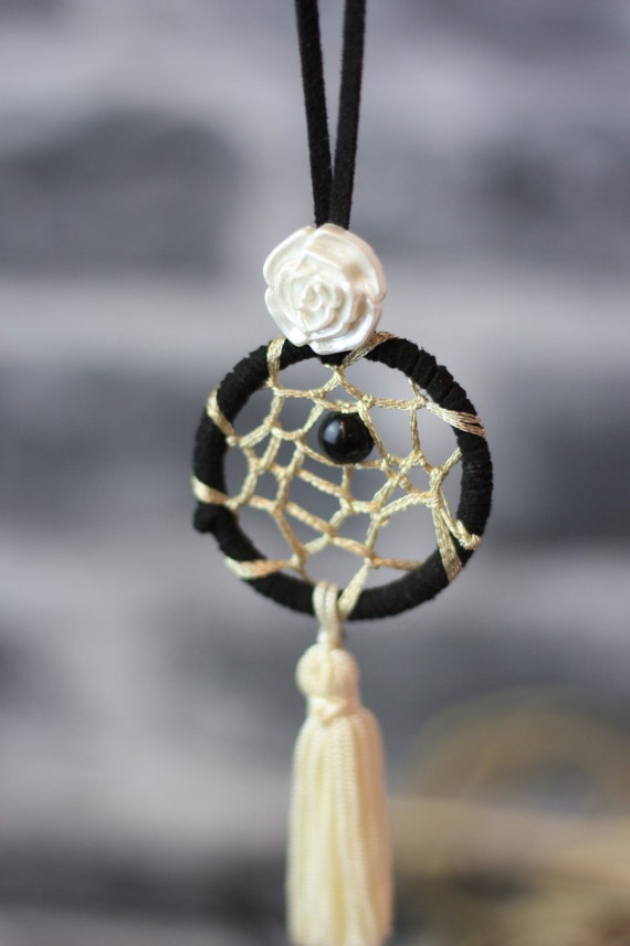 MONOCHROME DREAMCATCHER NECKLACE-Statement Necklace-Dreamcatcher- Bohemian- Boho chic- Festival necklace- Bespoke Jewelry- Festival- Vintage