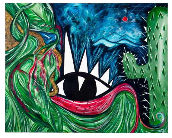FORREST NATIVITY ARTWORK  - Buddha Eye Print - A4- Digital print -  Wall Decor - Psychedelic -  - Surrealist Art - Mounted Art - Cactus