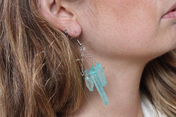 Healing crystal Sale Crystal earrings Gems BLUE AURA EARRINGS Yoga Silver Plated Earrings Gift Rainbow Dangle Earrings