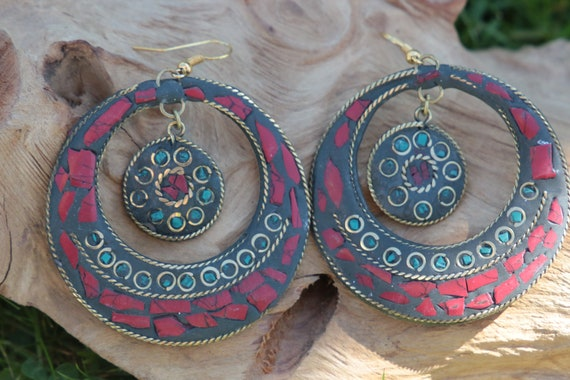 CORAL CHIP EARRINGS - Vintage - Handmade - Bespoke - Tribal - Mosaic - Gypsy - One of a Kind - Statement - Festival - Indian - Tibetan