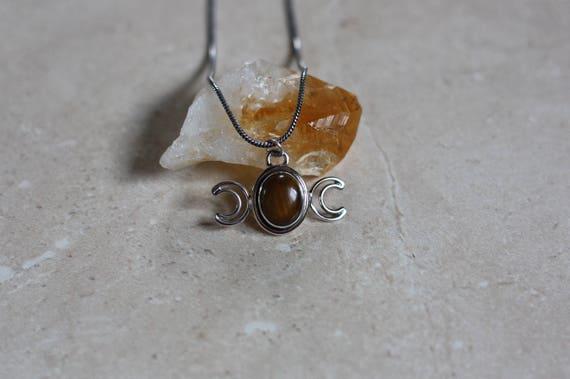 MOON GODDESS NECKLACE - Tigers eye - Moon Jewellery - Star sign - Gemstone - Horoscope - Crescent Moon - Crystal Necklace - Bespoke