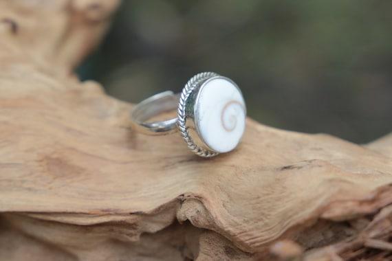 SHIVA EYE RING - Shiva Shell Ring - Sterling Silver Ring -  Shell Ring - Healing Crystal - Boho - Silver Ring - Statement Ring - Spiral