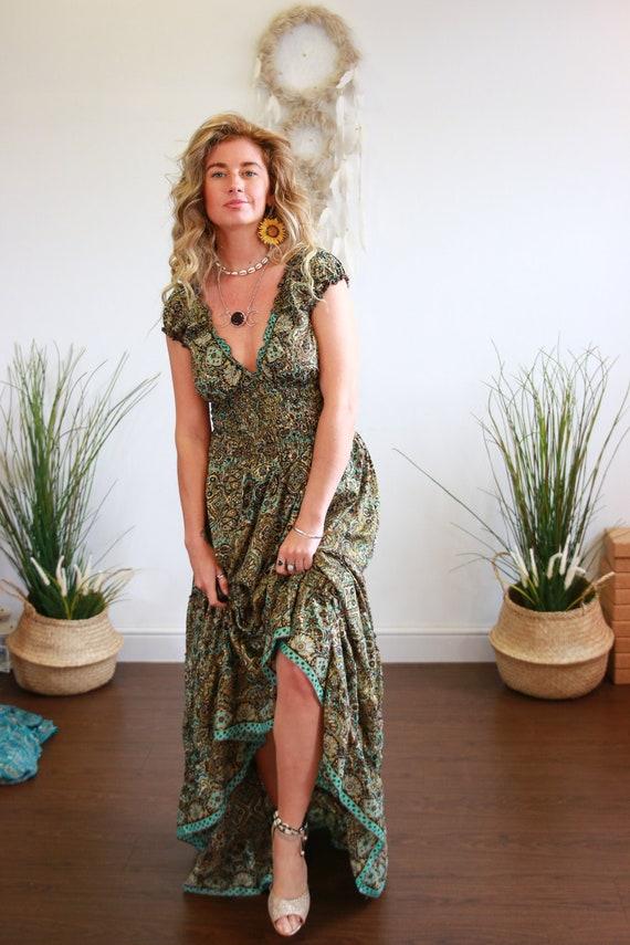 PAISLEY ESMERELDA DRESS - 60's 70's folk - Ruffle skirt - Peasant dress - Flamenco Gypsy - Prom - Breast feeding Dress - Reversible boho