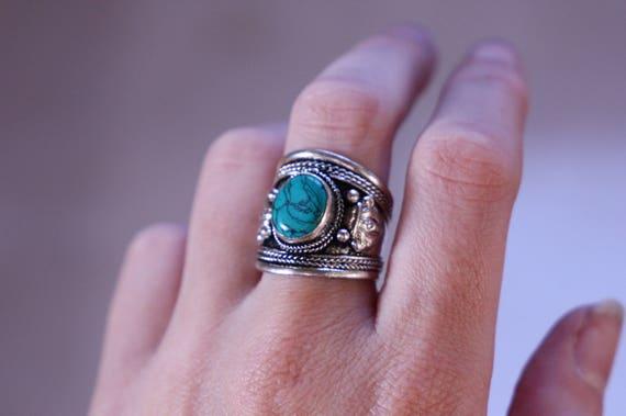 TURQUOISE FILIGREE RING - Vintage Ring - Tibetan Style - Spiritual - Statement ring - Unisex - Ring - Silver plated - Gift - Sale - Gemstone