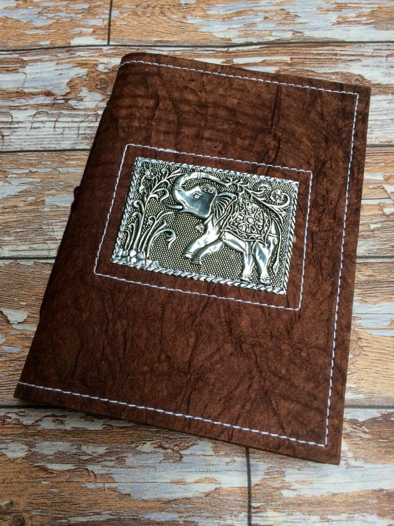 ELEPHANT JOURNAL - Embossed Silver Notebook - Sketchbook - Notebook - Dream Journal - Travel Scrapbook - Handmade Recycled Paper - Vegan
