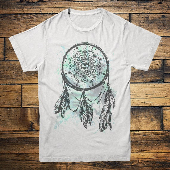 DREAMCATCHER TSHIRT - Tie Dye Tee - Yin Yang - Yoga Vest - Vintage - Fitness Tee - Native american - Handmade clothing - Active wear top