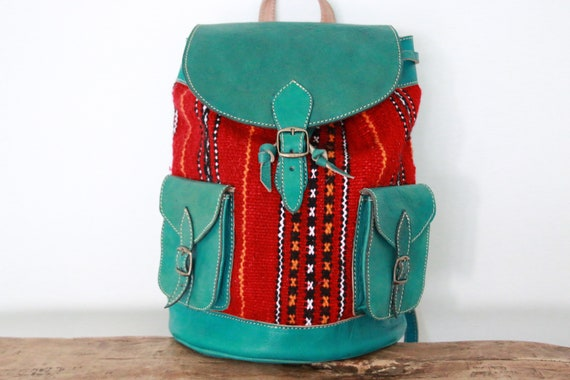 TURQUOISE LEATHER RUCKSACK - Large Vintage Rucksack - 60's / 70's - Aztec - Moroccan Carpet - Hippie School bag - Travel Backpack - Student