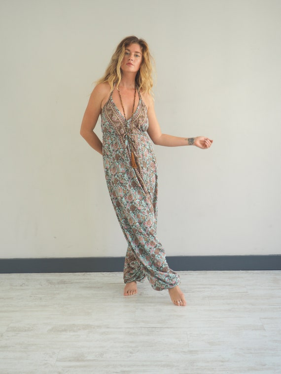 INDIAN LUXE HAREM - Jumpsuit - Super Soft Playsuit - 70's 60's Sari - Re worked vintage - recycled silk - Upcycled dungarees Boho - Ali Baba